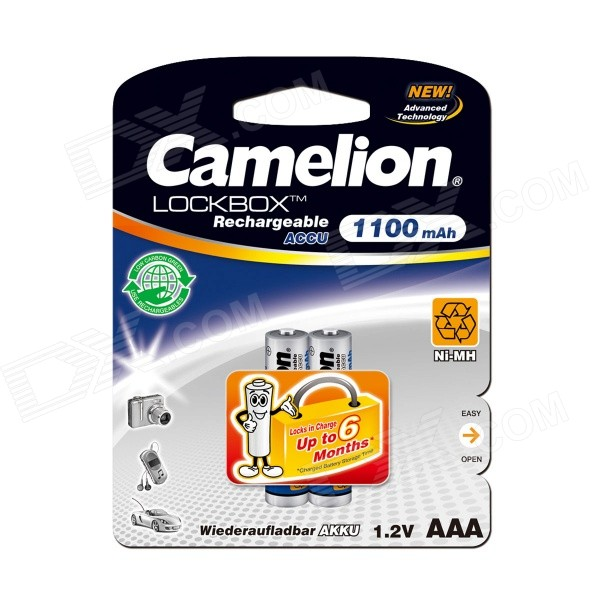 Camelion LockBox 1100mAh Low Self-discharge Ni-MH AAA Rechargeable Batteries (2 PCS) 8pcs pkcell battery aaa pre charged nimh 1 2v 1200mah ni mh 3a rechargeable batteries up to 1000mah capacity cycle 1200times