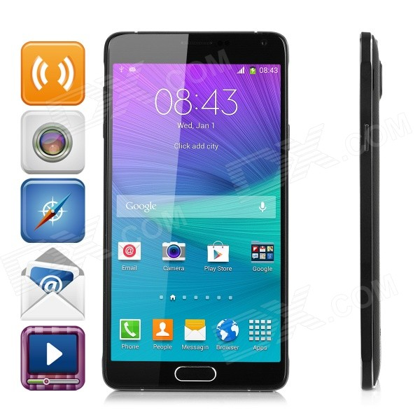 I9199 5.7 IPS Snapdragon Octa-Core Android 4.4.4 Smart Phone w/ 1GB RAM, 8GB ROM, Dual-Cam - Black z2 mtk6592 octa core android 4 2 2 wcdma bar phone w 5 0 ips hd 2gb ram 8gb rom gps otg white