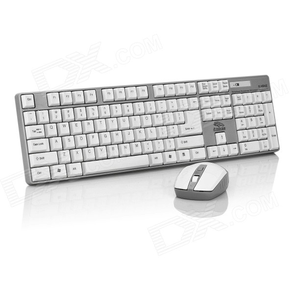 R.Horse FC-9033 2.4GHz Wireless 104-Key Keyboard + 800 / 3200DPI Mouse Set - White + Light Grey