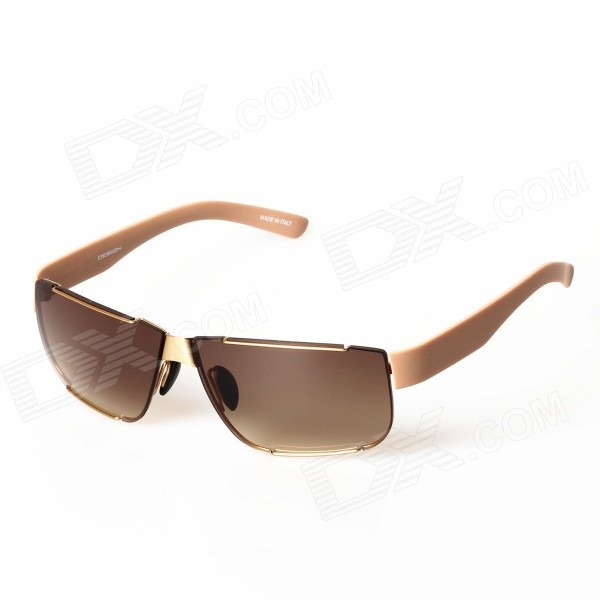 Men's Lightweight Stylish Resin Lens UV400 Protection Driving Sunglasses - Gold + Tawny carshiro 9150 uv400 protection resin lens polarized night vision driving glasses