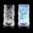 ZBD-150 Dragon Patterned LED Dazzling Colorful Light Cup - Transparent (150ML / 2 x CR2025)