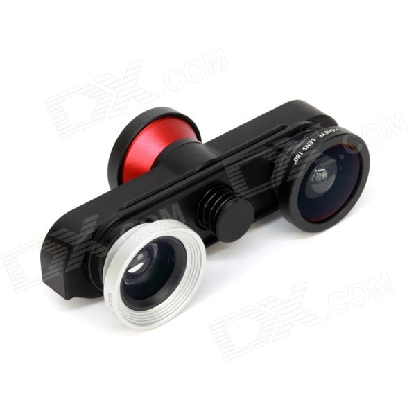 4-in-1 Fisheye + Macro + Wide Angle Lens + Front Camera for IPHONE 6 Plus - Black + Red + Silver 14x zoom wide angle telephoto lens telescope for iphone 6 6 plus silver black