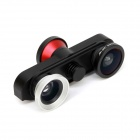 4-in-1 Fisheye + Macro + Wide Angle Lens + Front Camera for IPHONE 6 Plus - Black + Red + Silver