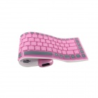 GLK-BK01P Waterdichte Silicone Bluetooth 3.0 Folding 84-Key Wireless Keyboard - Deep Pink