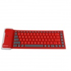 GLK-BK01R Waterproof Silicone Bluetootn 3.0 Folding 84-Key Wireless Keyboard - Red