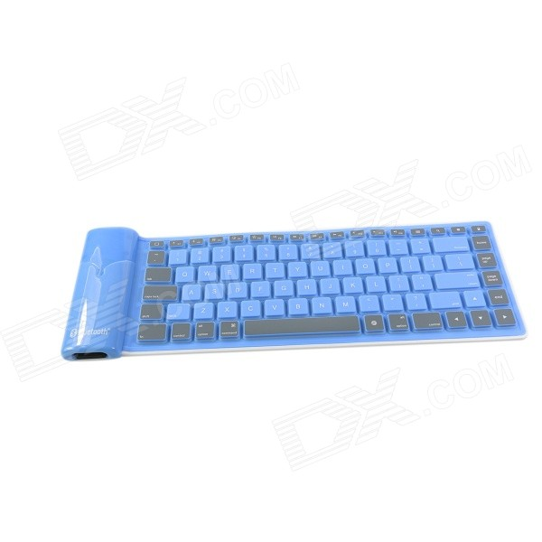 GLK-BK02BU Waterproof Silicone Bluetootn 3.0 Folding 84-Key Wireless Keyboard - Blue (Size L)