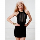 Women's Sexy Lace Splicing Sleeveless Mini Dress Lingerie - Black