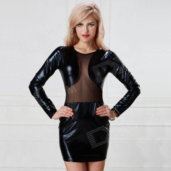 Women's Lace Splicing Long-sleeved Bodycon Perspective Mini Dress Sexy Lingerie - Black