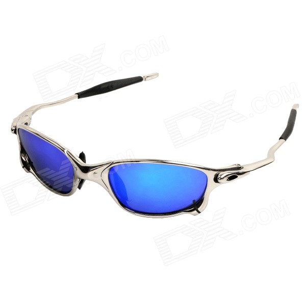 Stylish UV400 Protection Resin Lens Polarized Sports Cycling Sunglasses - Silver + Blue REVO retro women sunglasses polarized driving sun glasses with pc metal hinge shades uv400 protection gafas de sol mujer 4 colors