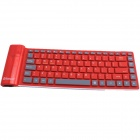 GLK-BK02R Waterproof Silicone Bluetootn 3.0 Plastic Folding 84-Key Wireless Keyboard - Red (Size L)