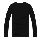 Creative Wolves Pattern Cotton Long Sleeve T-Shirt for Men - Black (M)