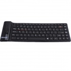 GLK-Waterproof Silicone Bluetooth 3.0 Plastic Folding 84-Key Wireless Keyboard - Black (Size L)