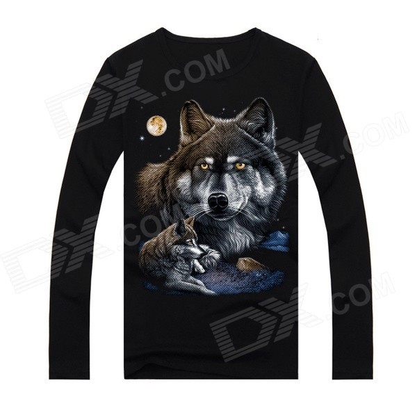 Creative Wolves Pattern Cotton Long Sleeve T-Shirt for Men - Black (L) creative pattern pure cotton short sleeve t shirt for men grey size s