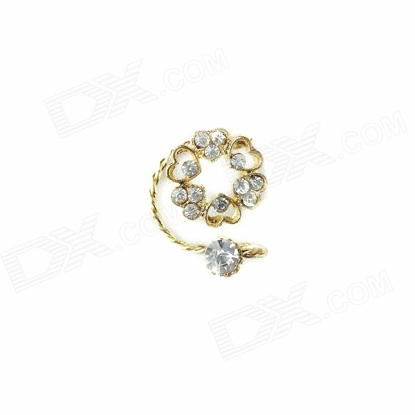 Women's Fashion Rhinestone Inlaid Ear Bone Clip - Golden
