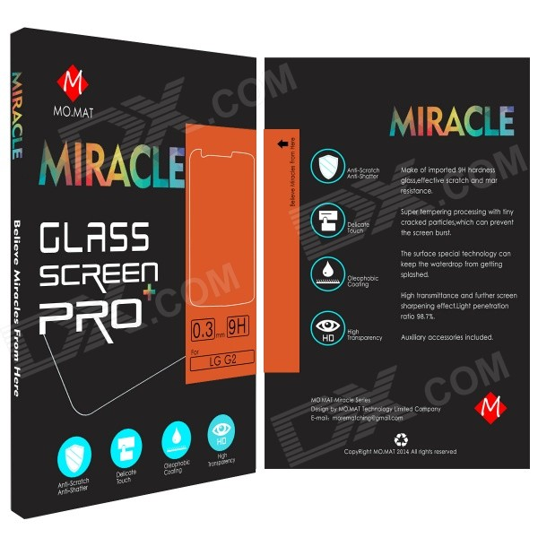 MO.MAT Miracle Pro209D 0.3mm 2.5D Tempered Glass Screen Protector for LG G2
