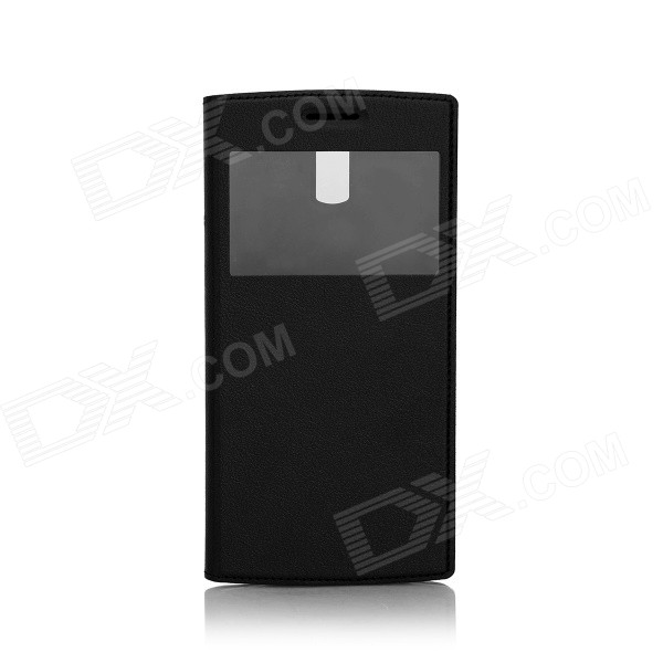 DOOGEE Protective PU Leather + Plastic Flip Open Case w/ View Window for DOOGEE KISSME DG580 - Black doogee protective pu leather case for doogee dg330 black