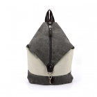 The South Korean Style Fashionable Zippered Canvas Computer Bag Backpack - Grey