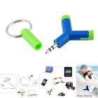 1-to-2 3.5mm Male to Female Music Sharing Headset Adapter Converter - Green + Blue