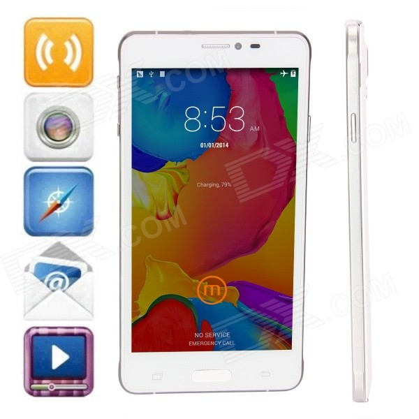 JIAKE V12 Android 4.2.2 Quad-Core WCDMA Bar Phone w/ 5.5 QHD IPS, FM, GPS, 8GB ROM - White jiake f1w 5 0inch capacitive touch screen mtk6572 dual core 1 2ghz smartphone 512mb 4gb 2 0mp 0 3mp android 4 2 os 3g gps with protective case black
