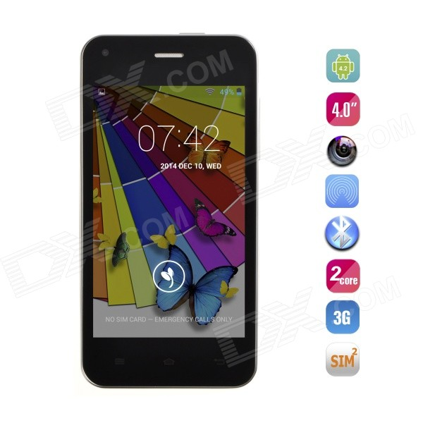 JIAYU F1W MTK6572 Dual-Core Android 4.2 WCDMA Phone w/ 4.0 IPS, 4GB ROM, GPS, Wi-Fi - Black zgpax s5 watch smart phone dual core 1 54 inch capacitive touch screen android 4 0 512mb ram 4g rom 2mp camera with gps silver black