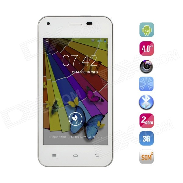 JIAYU F1W MTK6572 Dual-Core Android 4.2 WCDMA Phone w/ 4.0 IPS, 4GB ROM, GPS, Wi-Fi - White ноутбук hp probook 455 g3 p4p65ea amd a10 8700p 1 8 ghz 4096mb 500gb dvd rw amd radeon r6 wi fi bluetooth cam 15 6 1366x768 windows 7 64 bit