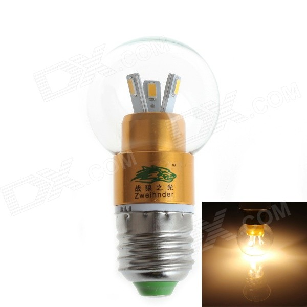 Zweihnder E27 3W 280LM 3500K 6x5730 SMD LED Warm Light Glass Globe Bulb (AC 100-240V)