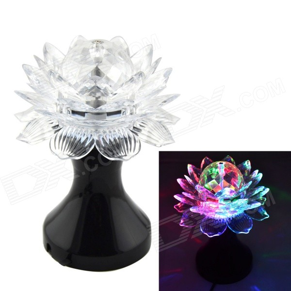 3W Lotus Cup Style 3-LED RGB Color Auto Rotating Party Stage Lamp (EU Plug)