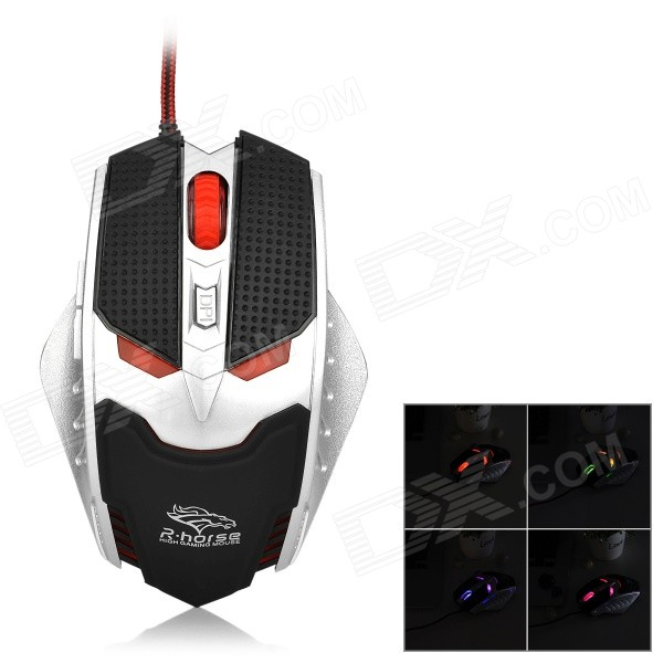 R.Horse FC-1591 6-Button USB 2.0 Wired Gaming Mouse w/ RGB Light - Black + Silver fc 143 usb 2 0 wired 1600dpi led gaming mouse black cable 120cm