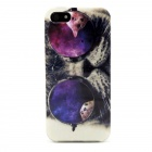 Cool Cat Pattern TPU Soft Back Case for IPHONE 5 / 5S - Black + Purple + Multi-Color