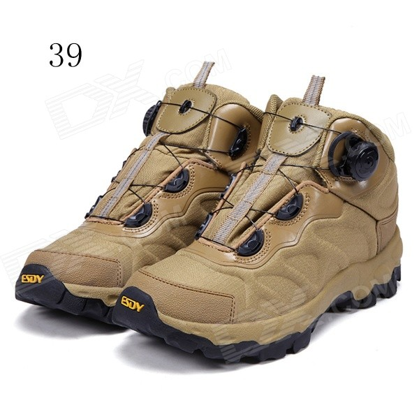 ESDY KF39-003 Men's Outdoor Hiking Climbing Anti-Slip Tactical Boots Shoes - Tan (39)
