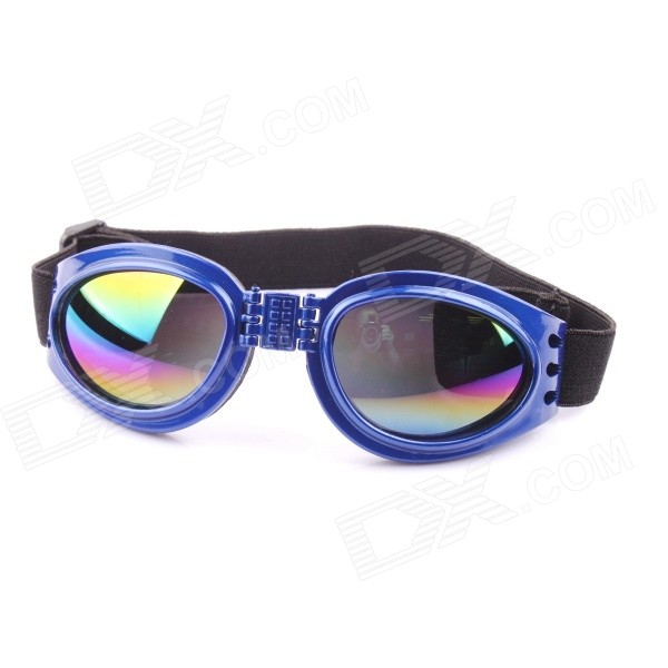 Folding Adjustable Headband Outdoor Eye Protection Goggles Glasses for Pet Dog - Blue