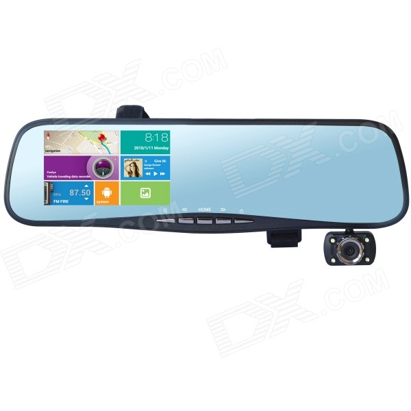"T3 4.3"" 1080P Android auto DVR Camcorder w / Rearview spiegel / GPS / Wi-Fi / / 8GB ROM, EU kaart"