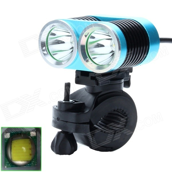 ZHISHUNJIA ZSJ360-B22 1600lm 4-Mode White 2-LED Bicycle Lamp w/ Bike Mount - Blue + Black (4 x18650)
