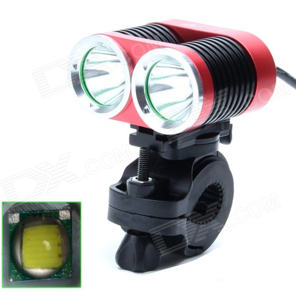 ZHISHUNJIA ZSJ360-B22 1600lm 4-Mode White 2-LED Bicycle Lamp w/ Bike Mount - Red + Black (4 x18650)