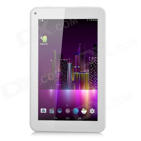 7 IPS Android 4.4 Quad-Core Tablet PC w/ 1GB RAM, 8GB ROM, Dual-Cam - White q79 7 9 ips dual core android 4 1 tablet pc w 16gb rom 1gb ram 3g 2g phone bluetooth