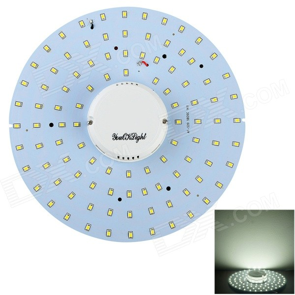 YouOkLight 19W 1700lm 6000K 100-2835 SMD White Light LED Plafonnier - Blanc (AC 90-265V)