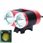 ZHISHUNJIA ZSJ-B22 1600lm 4-Mode White 2-LED Bicycle Light - Red + Black (4 x 18650)