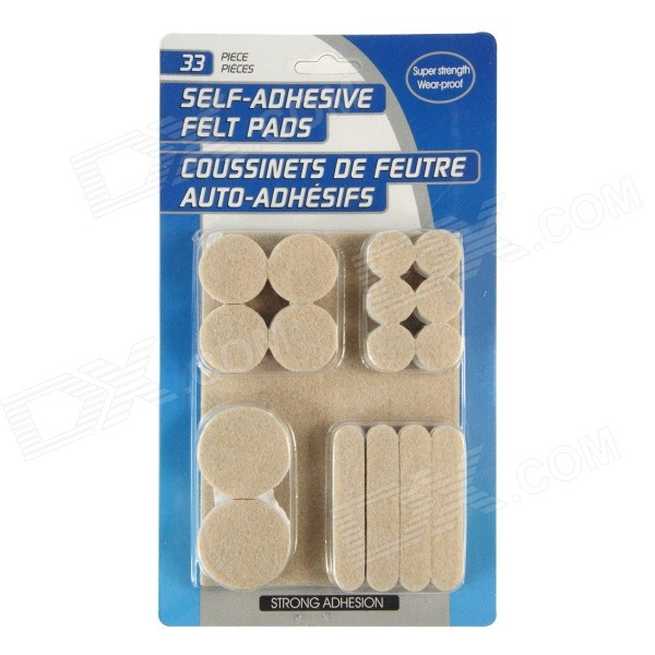 YWSQ-960 Self-adhesive Protective Felt Mats Pads for Table / Chair Legs - Beige + White (33 PCS) 50 pcs lot self adhesive rubber furniture leg feet pads floor protectors anti slip noise accessories
