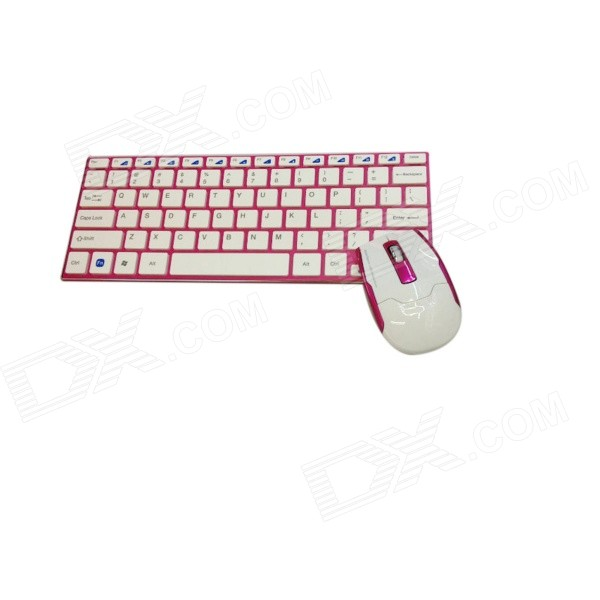 GLK-WMK03PW 2.4GHz Wireless 78-Key Keyboard + Optical Mouse Set - Fuchsia + White