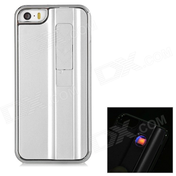Creative USB Rechargeable Cigarette Lighter Protective Back Case for IPHONE 5 / 5S - Silvery White fly eagle fe808 usb rechargeable electronic cigarette lighter keychain green
