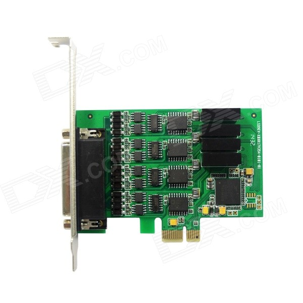 IOCREST IO-PCE354-PR4S 4-Port High Speed Serial RS-422 / 485 PCI Express Card - Green hightek hk 5110a industrial grade 1 port rs232 485 to 4 port rs485 hub each port with optical isolation 600w thunder protection