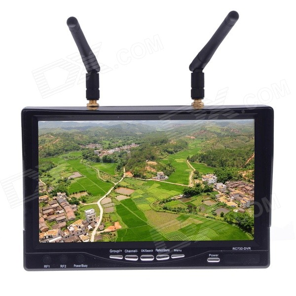 RC732-DVR 7'' 5.8GHz 32CH HD Diversity Receiver FPV Monitor Built-in Battery - Black 7 fpv monitor 5 8g 32 ch wireless receiver dvr w antenna for 5 8g fpv system black