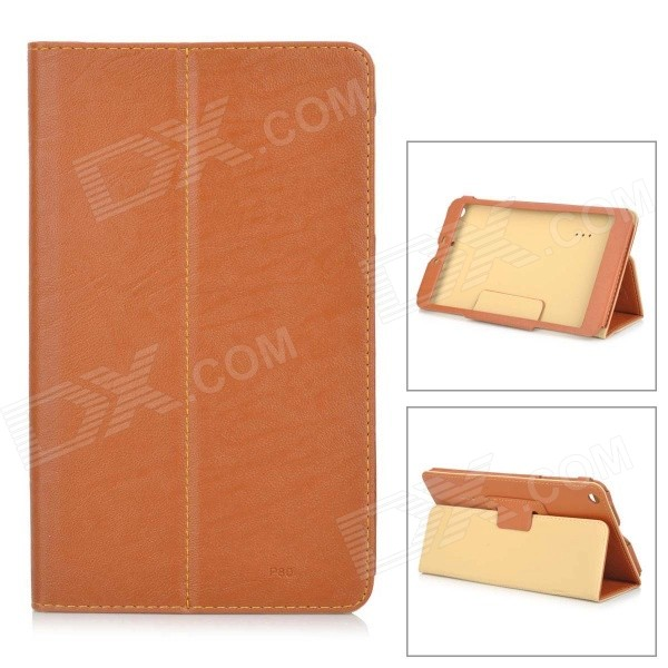 Protective PU Case w/ Stand for Teclast P80 - Brown