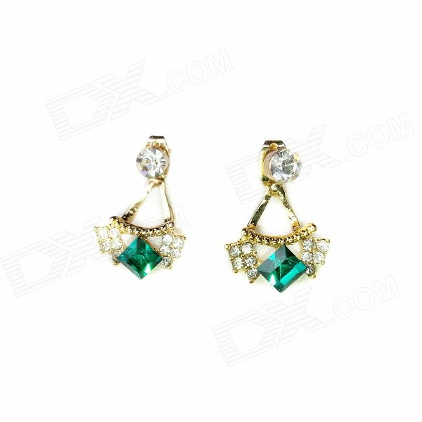 E037 Women's Fashionable Rhinestone-studded Pendant Earrings - Gold + Green (Pair) starry pattern gold plated alloy rhinestone stud earrings for women pink pair