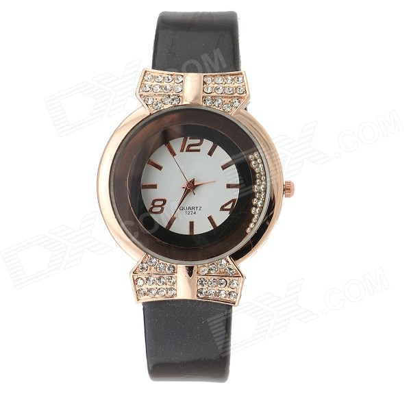 SP0001 Women's Trendy Rhinestone-studded Round Dial Analog Quartz Dress Watch - Black (1 x 377)