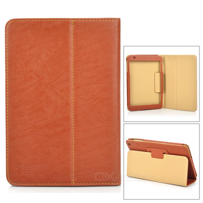Protective PU Case w/ Stand for Teclast X89HD - Brown