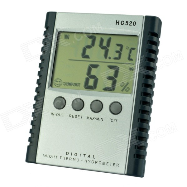 "HC520 2.5"" LCD Indoor & Outdoor Digital Thermometer - Silvery Grey (1 x AAA)"