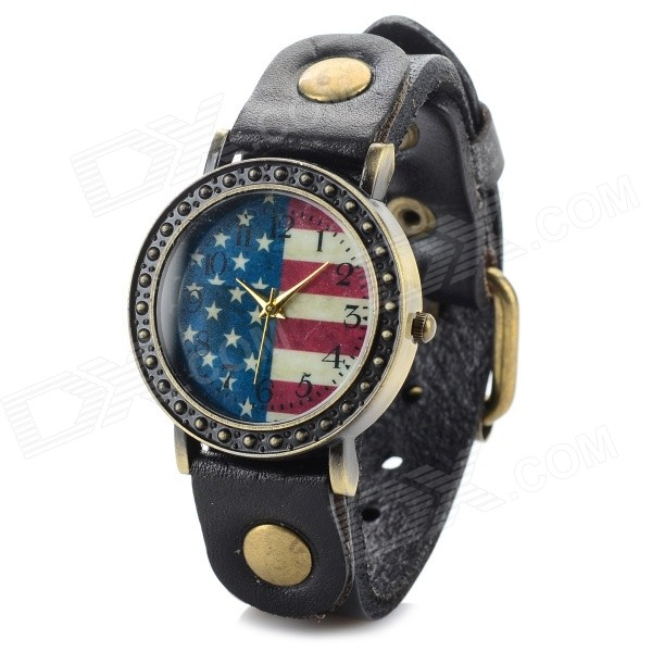 D2-1 US Flag PU Band Analog Quartz Wrist Watch - Antique Bronze + Black + Multi-Color (1 x 626)