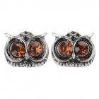 B212 Women's Owl Style Zinc Alloy Ear Studs - Silver + Brown (Pair)