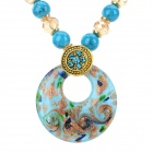 PS007 Fashion Azure Stone + Glass + Alloy Pendant Necklace - Blue + Golden + Multi-Color